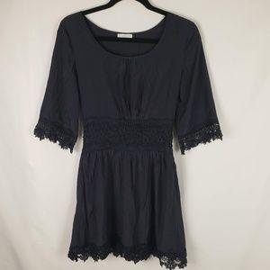 JUN & IVY Navy Crochet Lace Trimmed Dress XS-S
